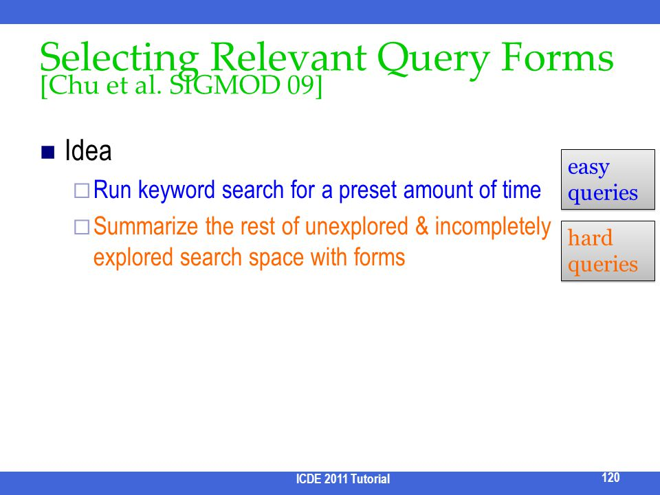 Selecting Relevant Query Forms [Chu et al. SIGMOD 09]